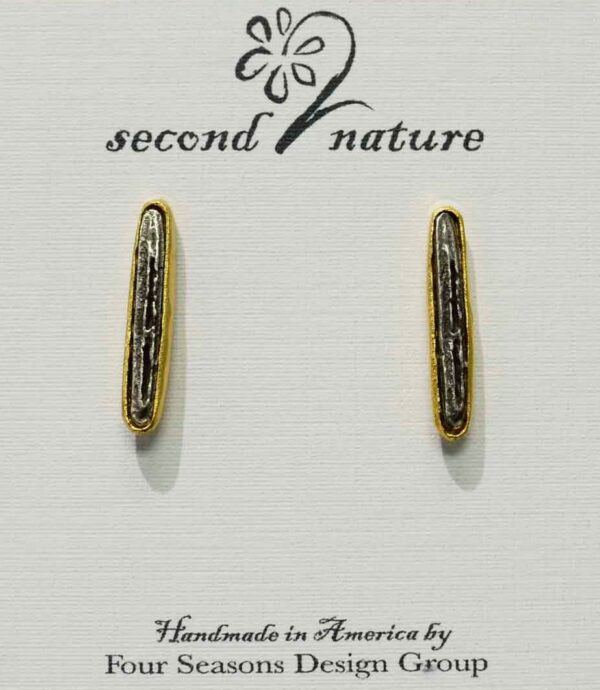 Second Nature Jewelry birch bark twig long post earrings