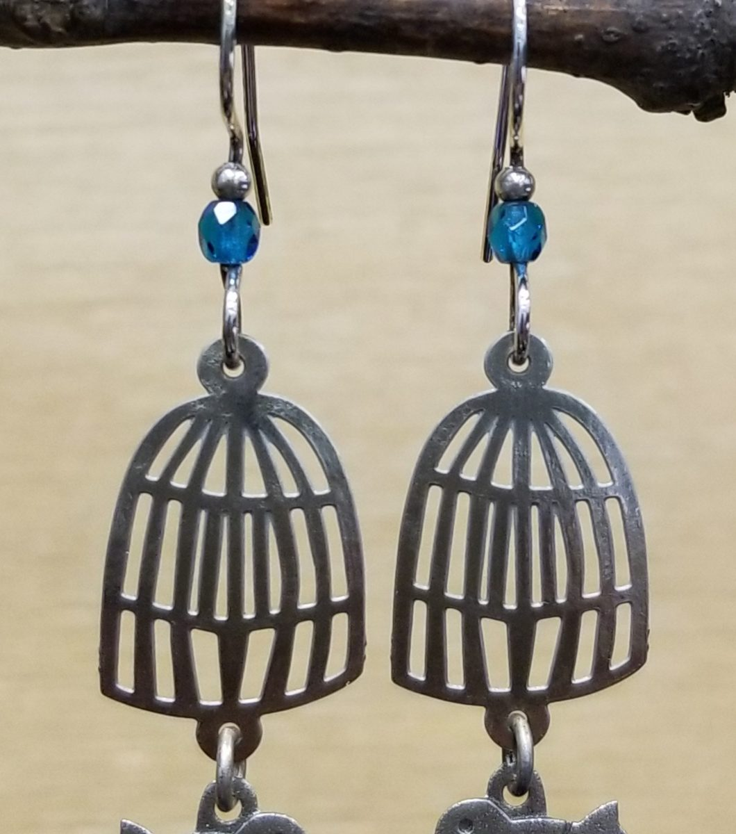 bird and birdcage earrings by Joseph Brinton