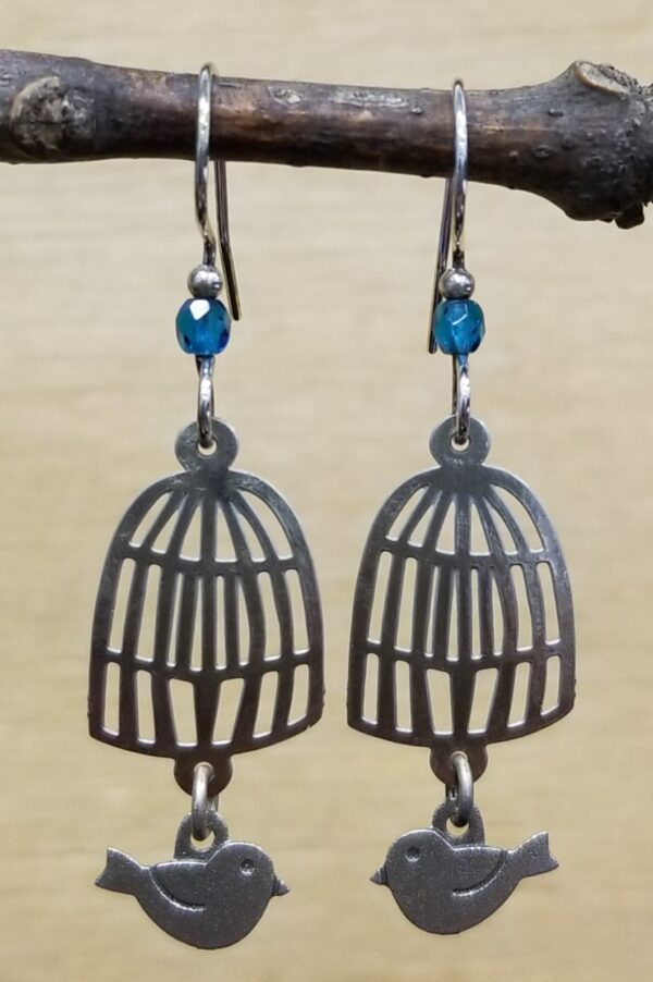 bird and birdcage earrings by Joseph Brinton