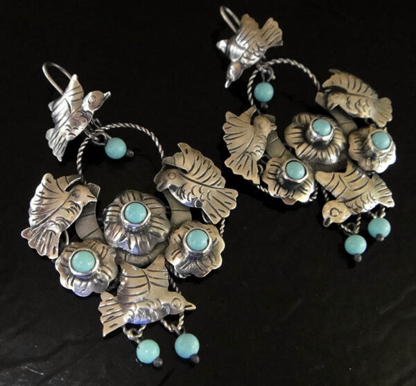 handmade turquoise and sterling silver bird earrings