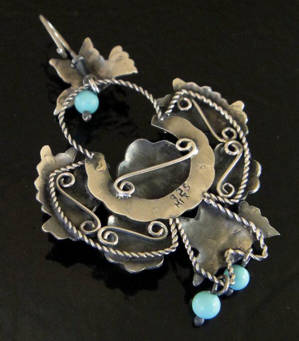 back of turquoise bird earrings