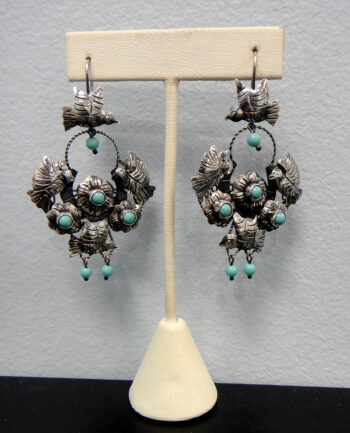 Handmade large turquoise and sterling silver bird dangle earrings