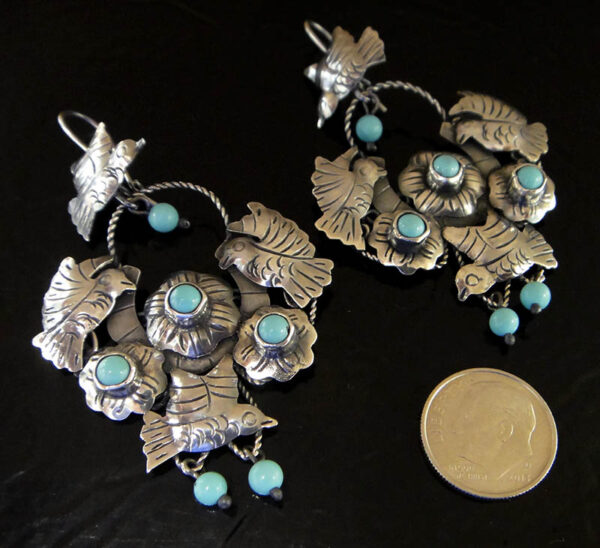 turquoise bird earrings with dime for size