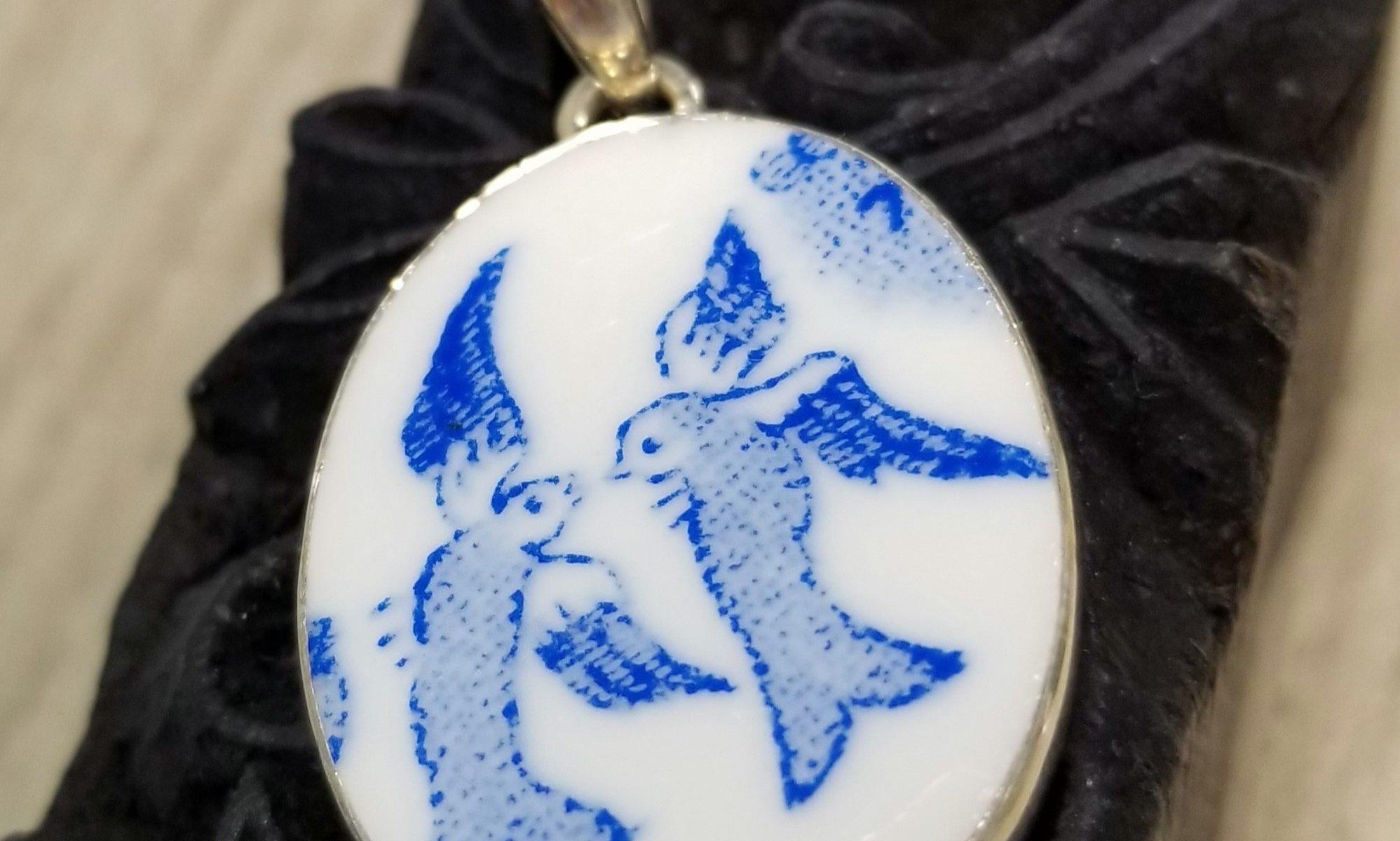 songbird porcelain pendant