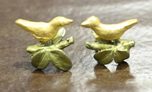 Michael Michaud Silver Seasons Birds in Boxwood stud earrings
