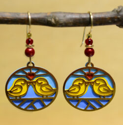 yellow birds with red heart Sienna Sky dangle earrings