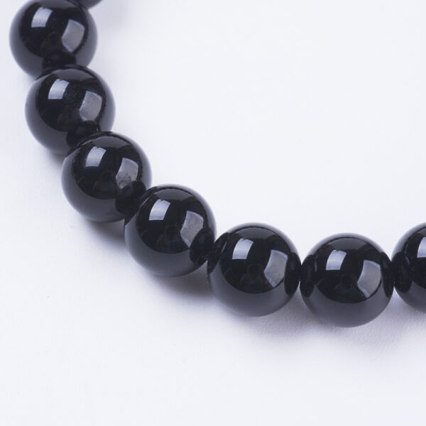 close up of black agate beads