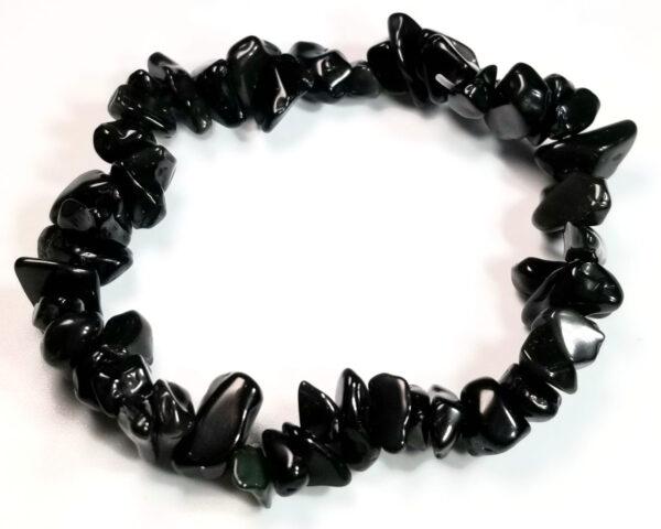 black agate gemstone chip stretch bracelet