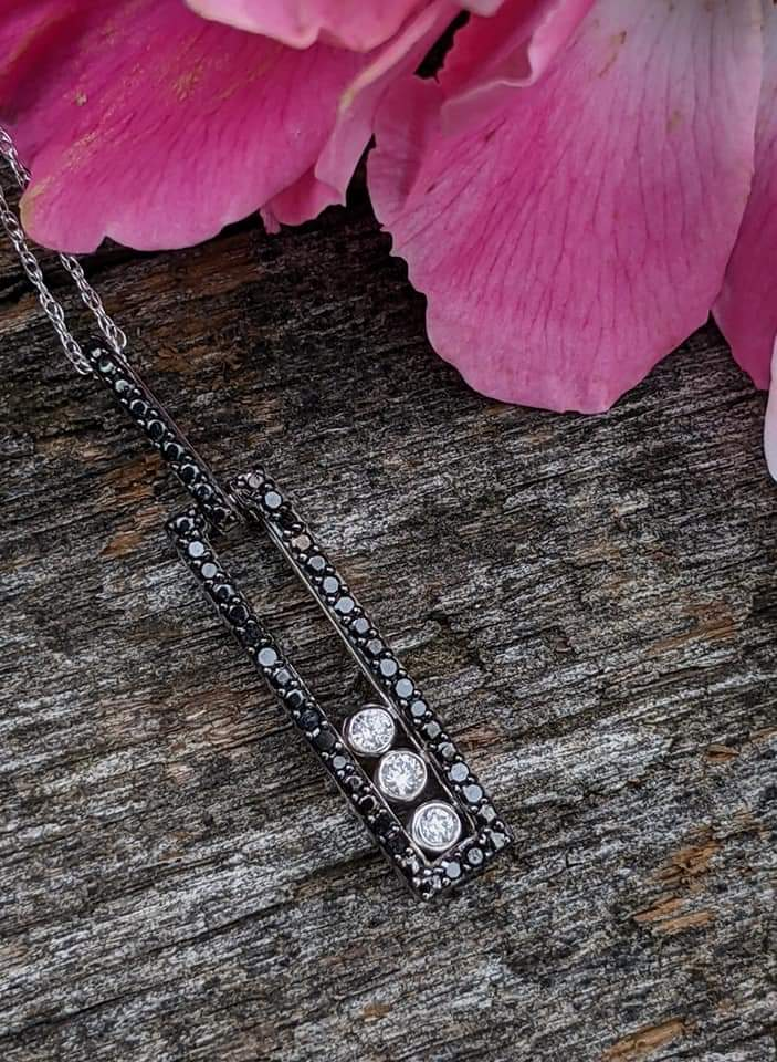 black and white diamond 10K white gold necklace