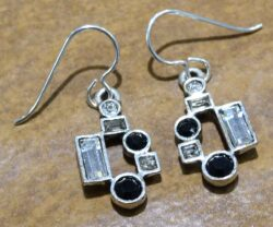 "Gotham silver tone earrings in color palette ""Black and White"" by Patricia Locke"