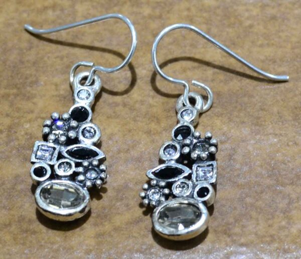 """Lara silver tone earrings in color palette """"Black and White"""" by Patricia Locke"""