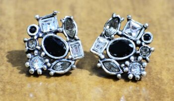 These stud earrings are handmade by Patricia Locke Jewelry. Patricia Locke names each style and this earring style is called Sophia. These earrings feature Patricia Locke's color palette named Black and White.