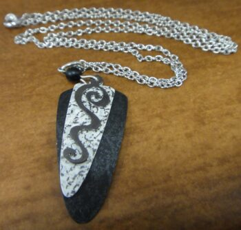 Black and white triangle adajio necklace