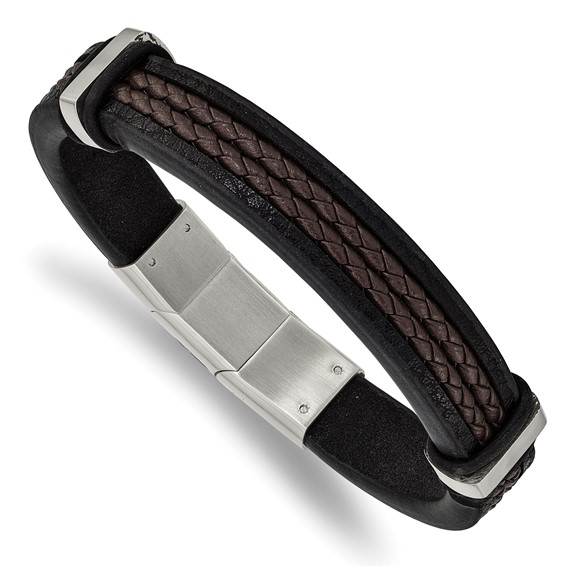 Brown and black leather stainless steel bracelet