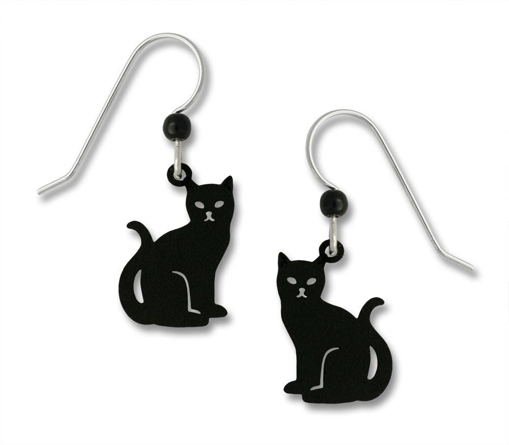 Black cat earrings with sterling silver earwires