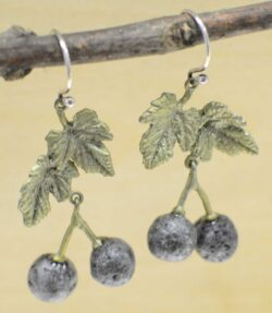 These blackcurrant earrings are handmade by Michael Michaud for his Silver Seasons collection.
