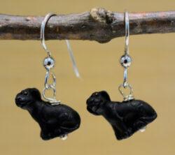 handmade ceramic black dog earrings
