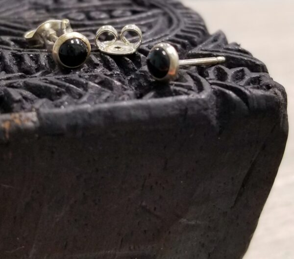 Black enamel and sterling silver stud earrings