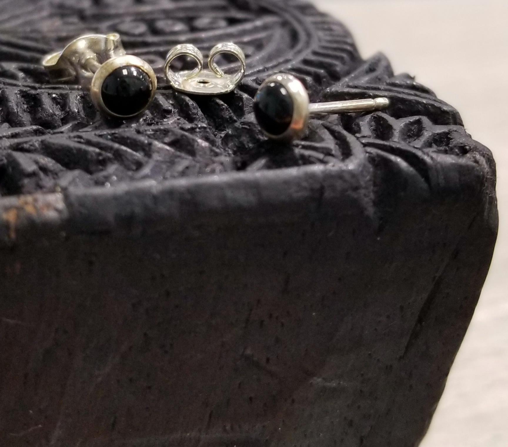 Black enamel and sterling silver stud earrings