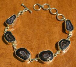 rough black geode druzy bracelet with sterling silver