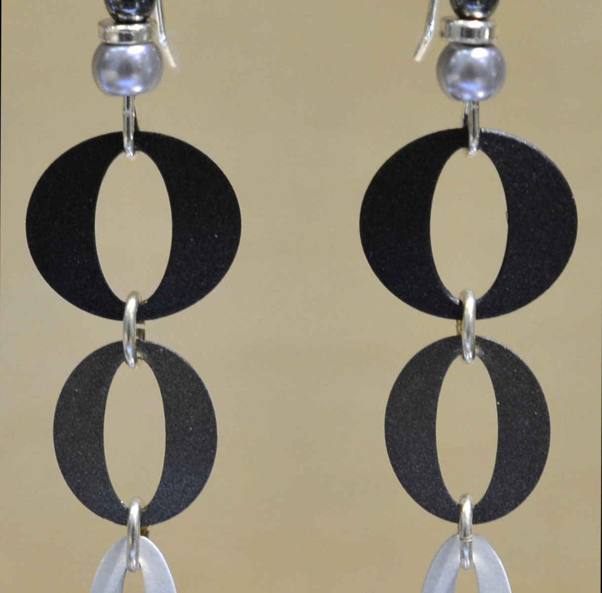 black, white, and gra ovals design drop earrings