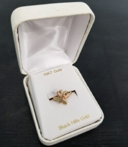 Black Hills gold butterfly ring in box
