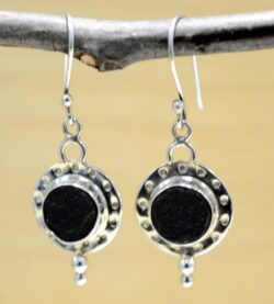 Handmade rough black jade and sterling silver drop earrings