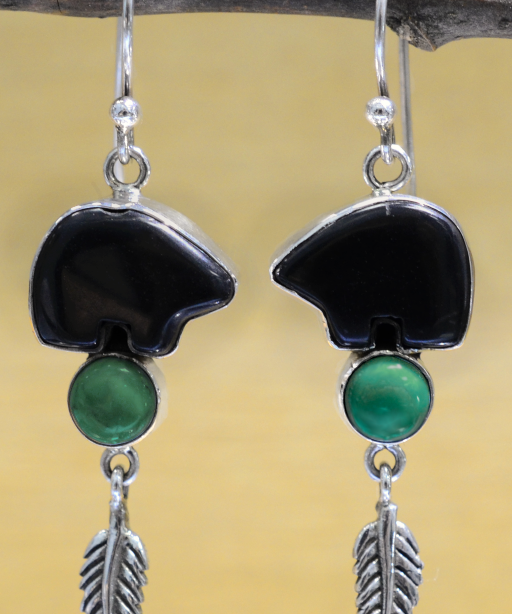 handmade black onyx and turquoise dangle earrings with feather accent