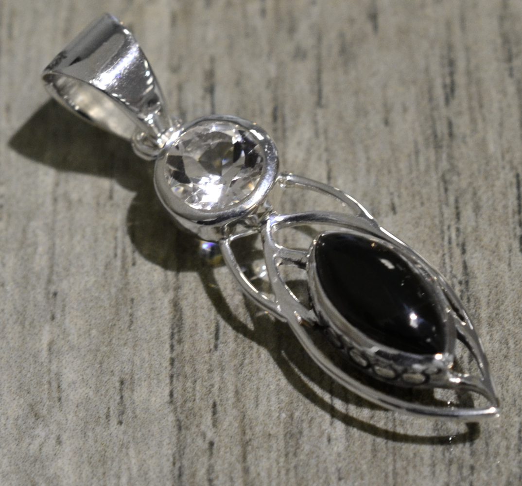 black onyx and crystal sterling silver detailed pendant