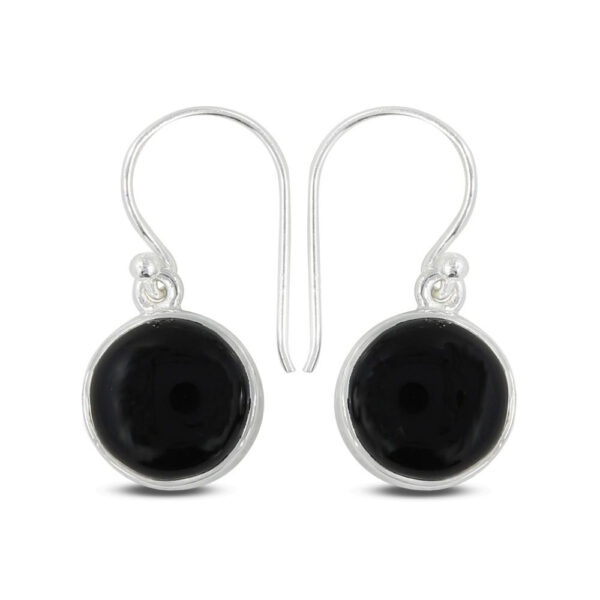 black onyx and sterling silver circle earrings