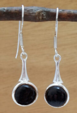 black onyx and sterling silver circle dangle earrings