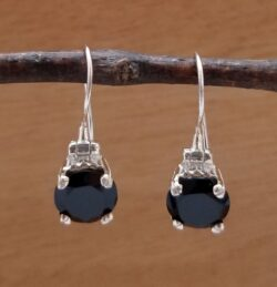 black onyx faceted gemstone and sterling silver earrings