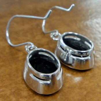 back of black onyx oval drop earrings