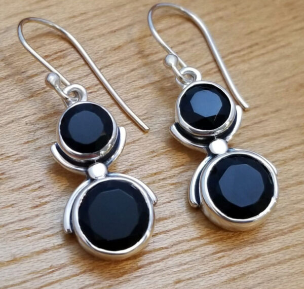 black onyx and sterling silver two stone handmade earrings