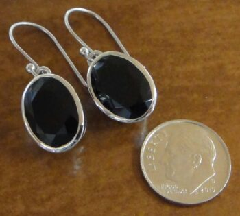 faceted black onyx and sterling silver oval earrings with dime for size