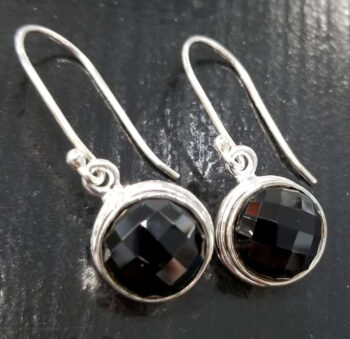 faceted black onyx and sterling silver dangle earrings