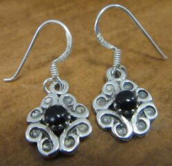 handmade black onyx and sterling silver flower earrings