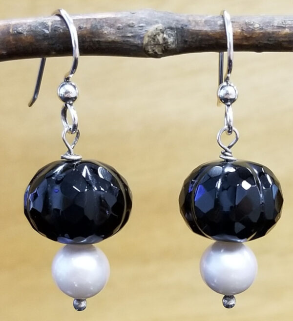 Black onyx and pearl earrings