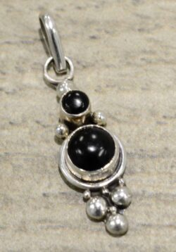 Handmade black onyx and sterling silver petite stone pendant