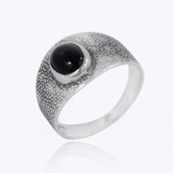 black onyx and sterling silver textured band ring