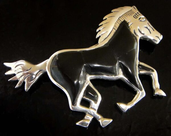 Black onyx and sterling silver horse pin