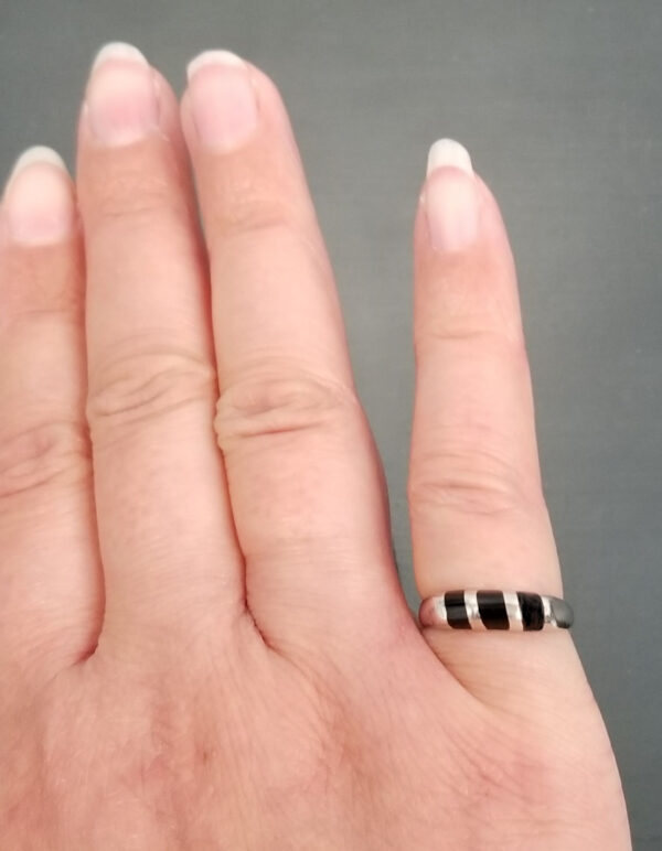 black onyx and sterling silver stripped ring