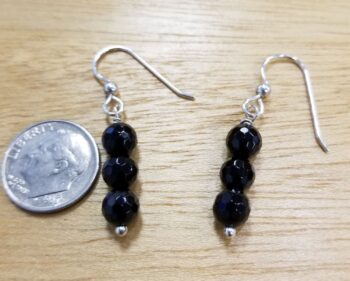 beaded black onyx earrings with dime for scale