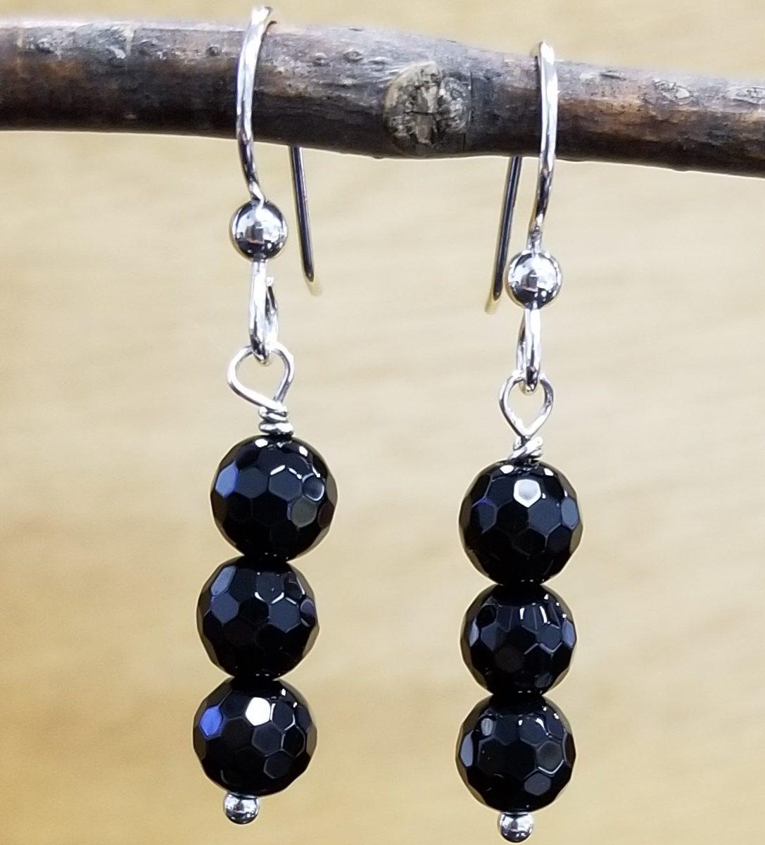 black onyx and sterling silver handmade black onyx beaded earrings