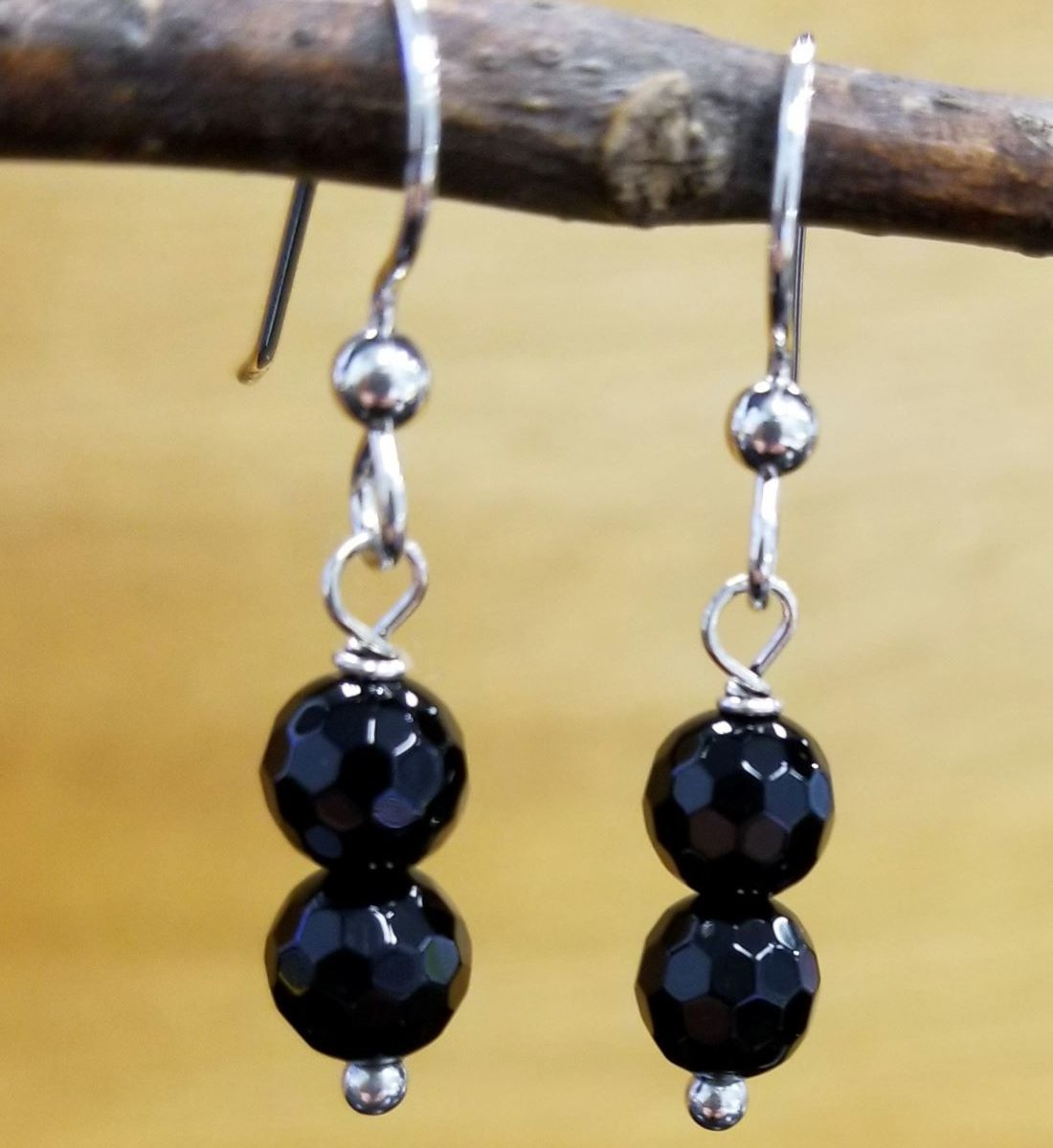 black onyx and sterling silver earrings with 2 beads per earring