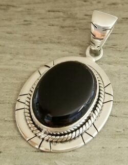 black onyx western style sterling silver pendant
