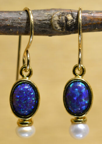 Sierra Designs black opal, freshwater pearl, and 14k gold vermeil earrings