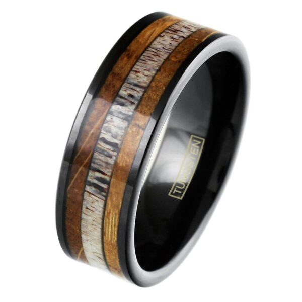 Black tungsten ring with whiskey barrel oak wood and deer antler inlay