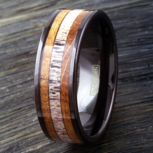 Black tungsten ring with deer antler and whiskey barrel oak wood inlay