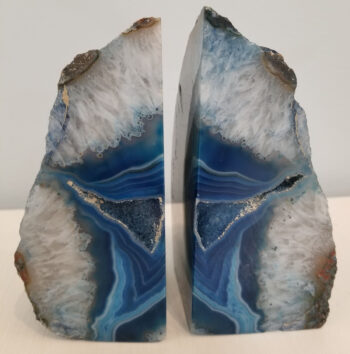 side view of blue agate bookends